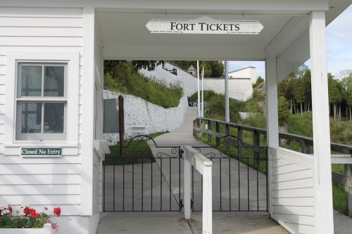The ticket booth at the lower level of Fort Mackinac - at the bottom of Fort Hill.
