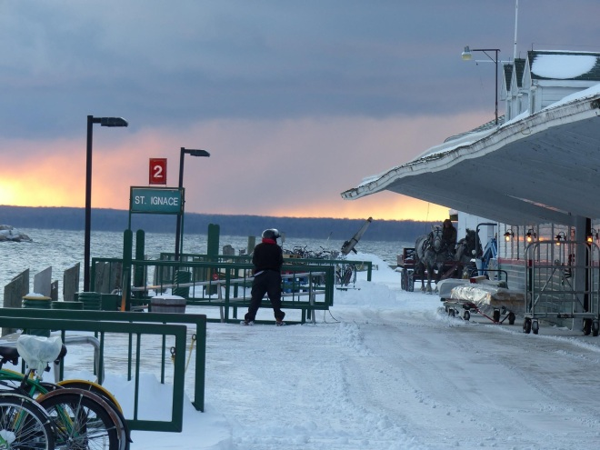 This morning on Mackinac - awaiting the first ferry.  I get shivery just looking at this - but then I get all warm and fuzzy thinking about being there to see it in person.  I know, I know - I'm CRAZY!  But I do love Mackinac in the winter.