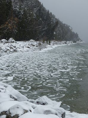 Friday afternoon - the beginnings of ice.  (Photo: Clark Bloswich)