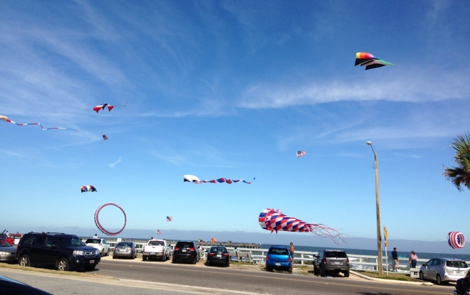 The Flagler Beach Pier is 2 miles from our house - an easy walk or bike ride, but so far we've gone by car.  A few days ago all these colorful kites were flying at the pier - which reminded me, of course, of the kites at Windermere Point on Mackinac.