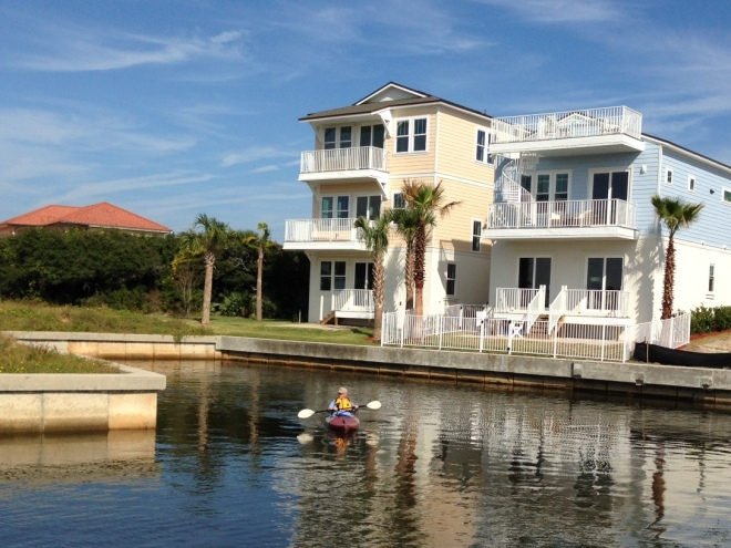 Ted took the kayak out this morning for his first trip up the canal to the Intracoastal . . .