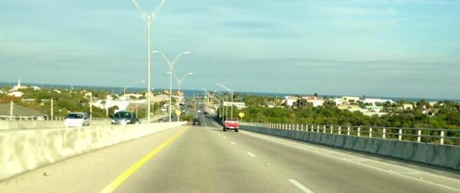 Our view as we top the Flagler Beach bridge coming into town.  We hang a left at the Atlantic Ocean, and then it's about three miles down A1A to our house.