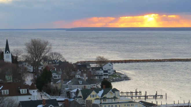 God's light shining through over Mackinac in both this photo from Clark Bloswick . . .