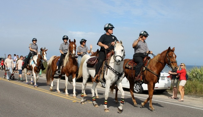 Had to get a photo of our mounted police force (which I had no idea we had)!