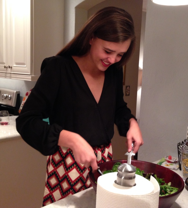 Our beautiful Jordan in the kitchen Christmas night.